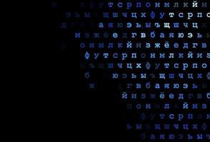 layout de vetor de azul escuro com alfabeto latino.