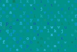 padrão de vetor azul e verde claro com símbolos abc.
