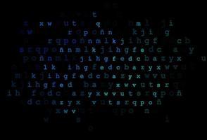 fundo vector azul e verde escuro com sinais do alfabeto.