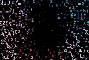 fundo vector azul e vermelho escuro com símbolos de dígitos.