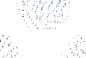 pano de fundo de vetor azul e vermelho claro com notas musicais.