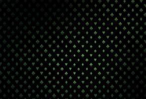 layout de vetor verde escuro com elementos de cartas.