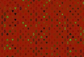layout de vetor verde escuro e vermelho com elementos de cartas.