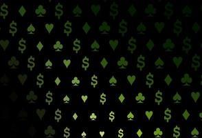 capa de vetor verde escuro com símbolos de aposta.