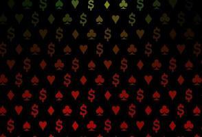 modelo de vetor verde e vermelho escuro com símbolos de pôquer.