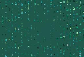 modelo de vetor verde-claro e amarelo com símbolos matemáticos.