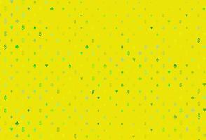 capa de vetor verde e amarelo claro com símbolos de aposta.