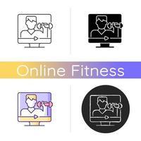 ícone de treinador de fitness online. vetor