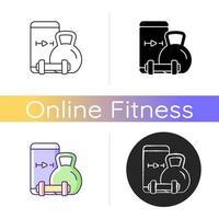 ícone de treinamento de exercícios de levantamento de peso online. vetor