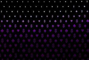 textura vector roxo escuro com cartas de jogar.