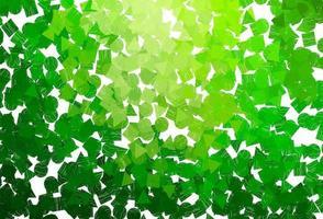 modelo de vetor verde e amarelo claro com cristais, círculos, quadrados.