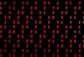 textura vector vermelho escuro com símbolos financeiros.