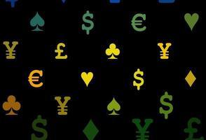 capa de vetor roxo escuro com símbolos de aposta.