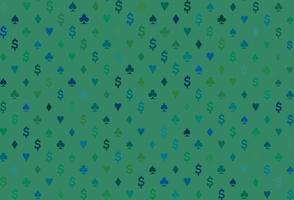 capa de vetor azul e verde escuro com símbolos de aposta.