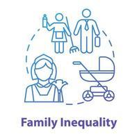 ícone do conceito azul de desigualdade familiar vetor