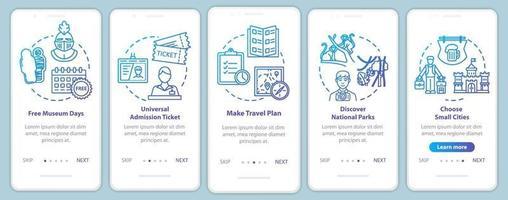excursões integrando tela da página do aplicativo móvel com conceitos vetor