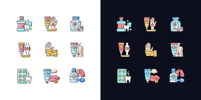 conjunto de ícones de cores rgb tema claro e escuro bolsa de primeiros socorros vetor