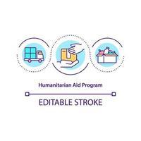 ícone do conceito de programa de ajuda humanitária. vetor