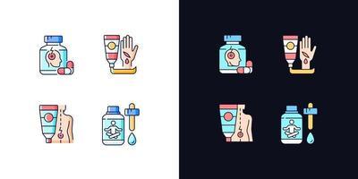 kit de primeiros socorros de sobrevivência conjunto de ícones de cores rgb de tema claro e escuro vetor