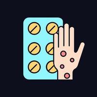 pílulas para alergia ícone de cor rgb para tema escuro vetor