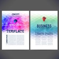O projeto abstrato do molde do vetor, folheto, sites, página, folheto, com fundos triangulares geométricos coloridos, logotipo e text separadamente.