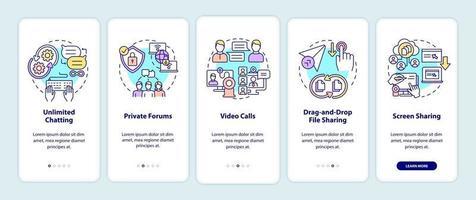 tela da página de integração do aplicativo móvel da opção de mensagens de negócios vetor