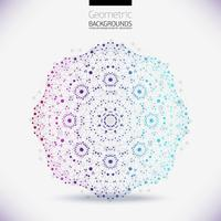 Estrutura geométrica abstrata, o escopo das moléculas, as moléculas no círculo.