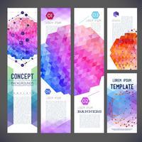 Banners de design abstrato, tema de negócios, impressão de panfleto, web design vetor