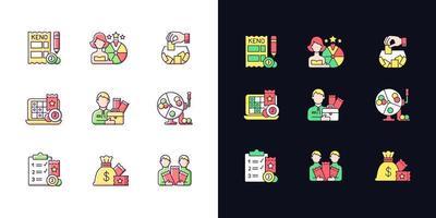 tipos de jogos de azar conjunto de ícones de cores rgb de tema claro e escuro vetor
