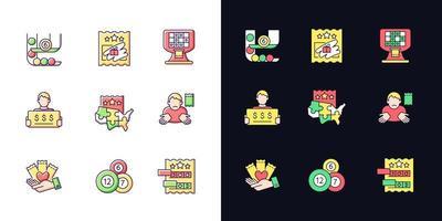 tipos de jogos de loteria tema claro e escuro conjunto de ícones de cores rgb vetor