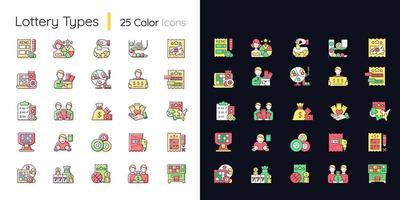 conjunto de ícones de cores rgb de tema claro e escuro de tipos de loteria vetor