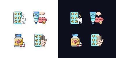 conjunto de ícones de cores rgb de tema claro e escuro para tratamento de doenças vetor