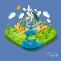 Paisagem natural favorável ao meio ambiente com montanhas rio e floresta ao redor. vetor