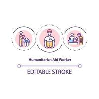 ícone do conceito de trabalhador de ajuda humanitária. vetor