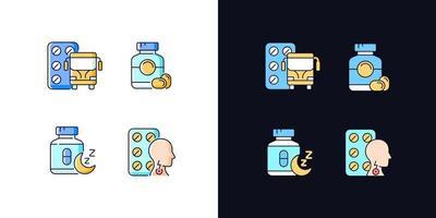 manter a qualidade de vida conjunto de ícones de cores rgb tema claro e escuro vetor