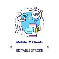 ícone de conceito de cliente IM móvel vetor