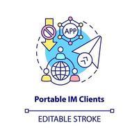 ícone de conceito de cliente IM portátil vetor