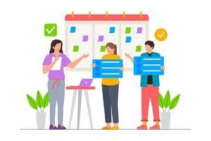 planejamento de negócios para ilustração de cenário de inicialização vetor