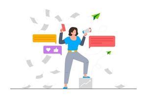 ilustração de cena de inicialização de negócios de marketing por e-mail vetor