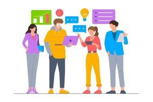 ilustração de cena de trabalho em equipe de negócios vetor