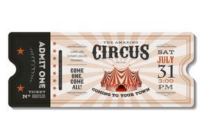 Bilhete de circo vintage vetor
