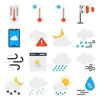 pacote de ícones planos de clima e meteorologia vetor