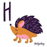 ouriço. alfabeto animal. letra de aprendizagem h. vetor