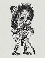 personagem revolucionário mexicano do crânio vetor