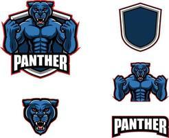 coleção de conjunto de mascote pantera em esporte de logotipo vetor