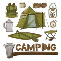 conjunto de aquarela pintada camping fornece clipart. desenhado à mão vetor