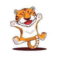 desenho animado tigre feliz pulando com as mãos e as pernas abertas vetor
