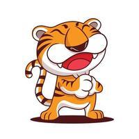 feliz ano novo chinês 2022. desenho animado feliz tigre saudação gesto vetor