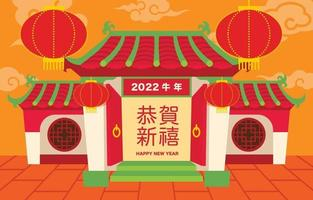 ano novo chinês 2022 com casa tradicional chinesa e lanterna vetor