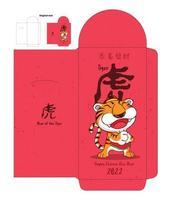 modelo de design de pacote vermelho de tigre bonito de desenho animado vetor